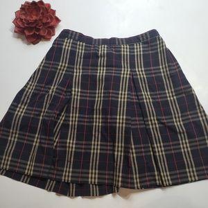 Vintage Dennis Plaid Pleated Skirt
